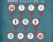 Red Firetruck Printable Baby Shower BANNER by Tipsy Graphics.