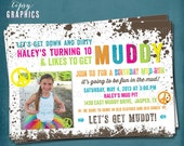 Peace & Mud. Down and DIRTy. Paint Ball. Color Run. Dirt. Customized Birthday Party Photo Invite by Tipsy Graphics. Any Text.