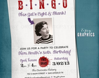 BINGO. Milestone Surprise Party Invite. This Kid's Eight & Blank. Perfect with Old School Baby Photo by Tipsy Graphics. Any age, any colors