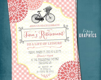 Vintage Bike. Gingham Mums Retirement Garden Party Invitation.  Any text by Tipsy Graphics