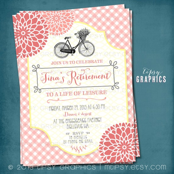 Vintage Bike. Gingham Mums Retirement Garden Party Invitation.