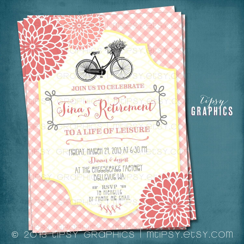 vintage bike gingham mums retirement garden party invitation. Black Bedroom Furniture Sets. Home Design Ideas