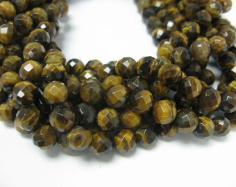 38 pcs 10mm faceted round yellow tiger's eye beads