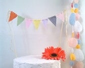 Cake Bunting Fabric Bunting Flags Cake Topper, Smash Cake Flags Farmers Market Birthday Banner Wedding Cake Topper photo prop