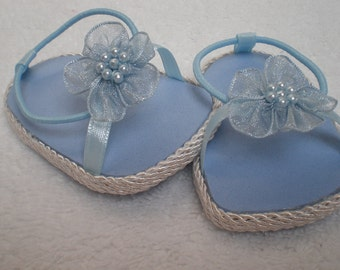 Blue flower beachy sandals 18 inch doll clothes