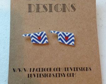 oklahoma chevron heart earring. okc. oklahoma city. post earring.chevron. heart. blue and orange