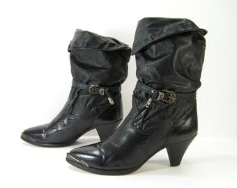 zodiac western boots womens 8.5 N black slouch harness cowboy cowgirl vintage