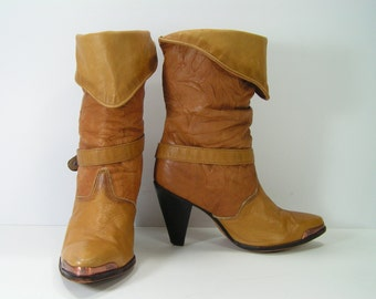 vintage zodiac cowboy boots womens 6 M honey brown slouch pirate high heel harness cowgirl