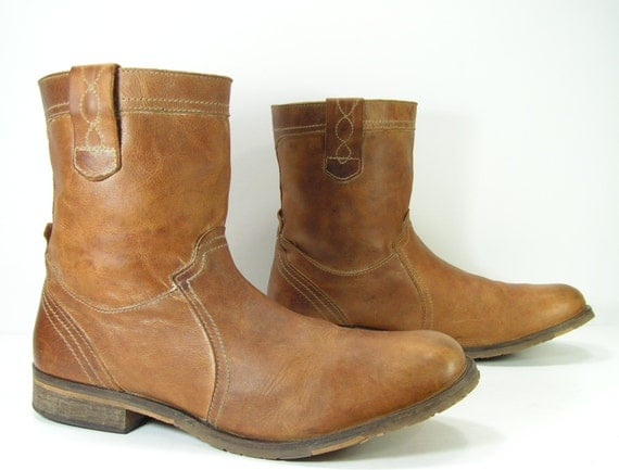 roper cowboy boots mens 11 d light brown leather western