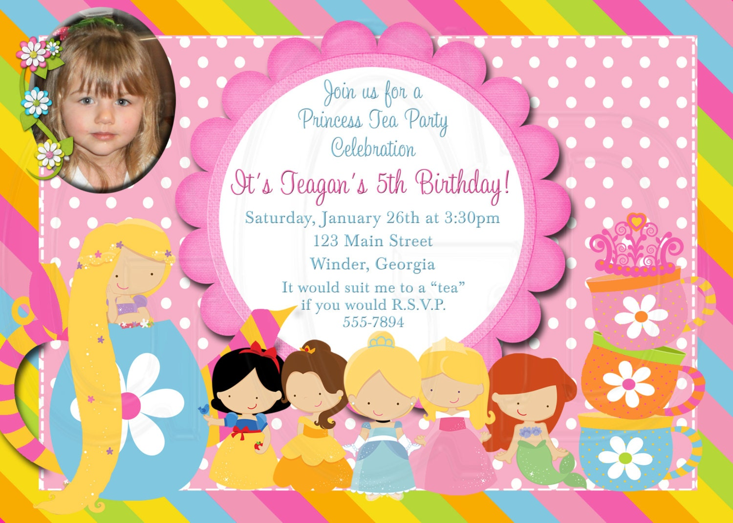 Tea Party Invitation Birthday Princess Tea-Digital File