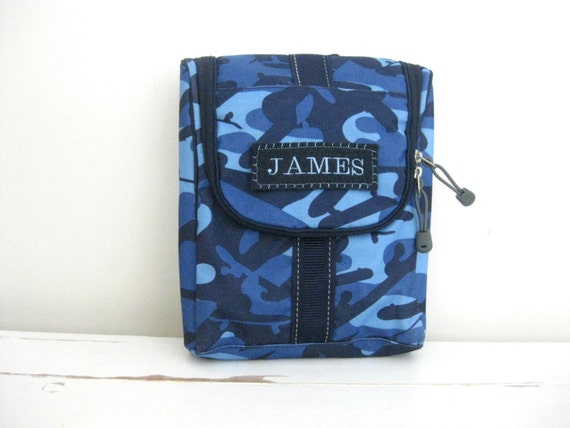 Kids Personalized Toiletry Bag Navy Camo
