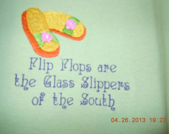 XL tee shirt-Flip Flops are the Glass Slippers of the South