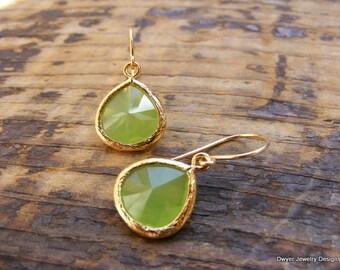 Granny Smith Green Glass Earrings.