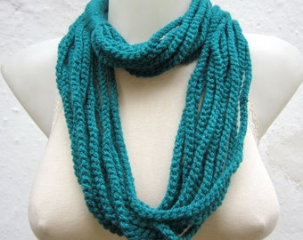 Crochet Scarf infinity, Necklace Teal, Chain Loop Scarf, Women Scarves, Neckwarmer, Circle Necklace, Foulard Accessories