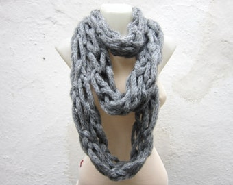 infinity Circle Scarf, Knit Arm Scarves, Knitted Chunky Accessories, Bulky Loop Necklace, Women Cowl, Christmas Gift, Autumn