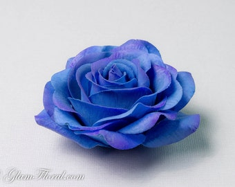 Blue Rose Hair Clip / Brooch / Corsage, Petite Real Touch Royal Blue Rose Fascinator