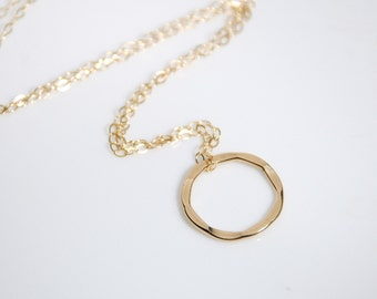 14K gold filled necklace,  simply circle necklace, light weight, dainty everyday jewelry, jewelry gift