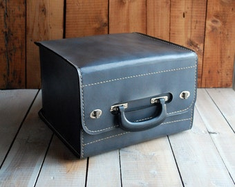 Big Grey Camera Case or Projector Case, Large Leatherette Carrying Case, Storage Box