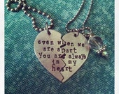 On Sale-His & Hers Broken Heart Hand Stamped Necklace