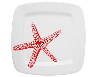 beach chic, red and white starfish medium square ceramic dinner plate, serving tray, platter