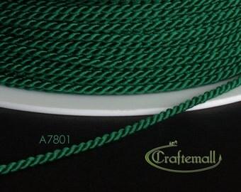 Soutache cord - twisted soutache cord 1.5mm - emerald green (A7801) - 2 meters