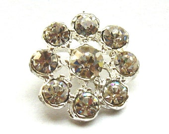 5 Crystal Rhinestone Button for Wedding Decoration Invitation Card Napkin Ring Scrapbooking RB-005 (18mm or 0.7inch)