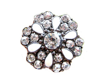 5 Enamel Crystal Rhinestone Buttons Wedding Invitation Card Decoration Hair Accessories Jewelry Scrapbooking RB-054C (25mm or 1 inch)