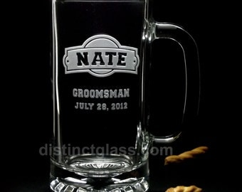 Gifts for Groomsmen - ARCH-CRESTED Wedding BEER Mugs - 16 oz Etched Glass Beer Groomsmen Gifts - Distinct Glass Studio - Ships to Canada