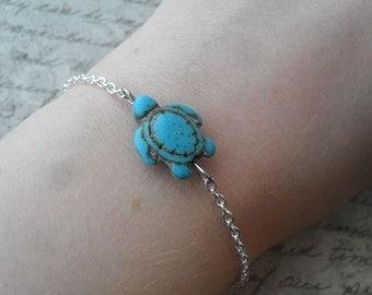 turquoise turtle bracelet on silver - sea turtle bracelet