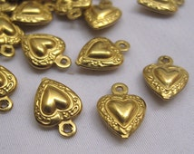22pcs Heart Charm in Gold Small Bracelet Findings for Jewelry Design Raw Brass Supplies bf055
