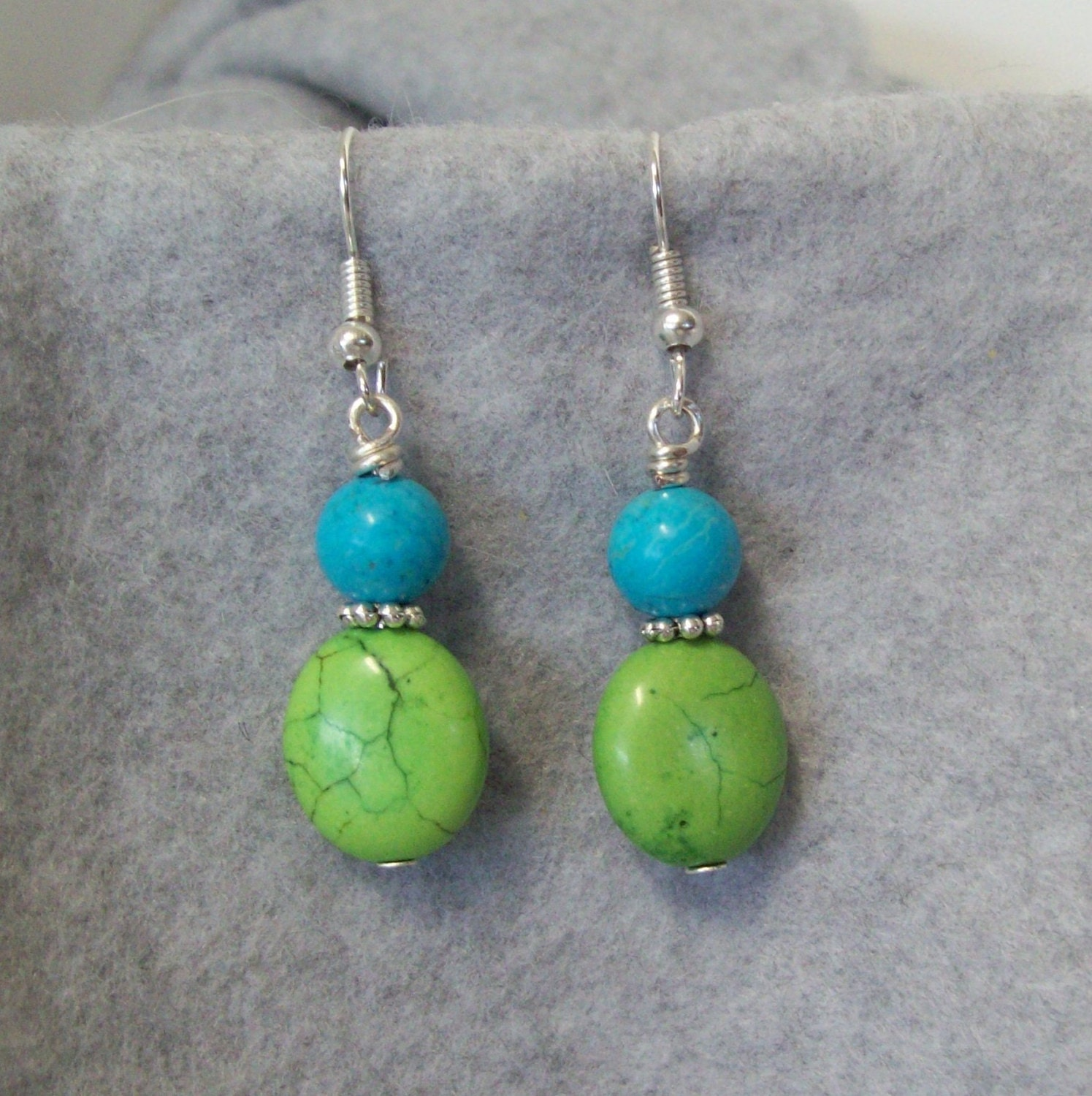 dangle earrings green and blue turquoise bead by gumbostew