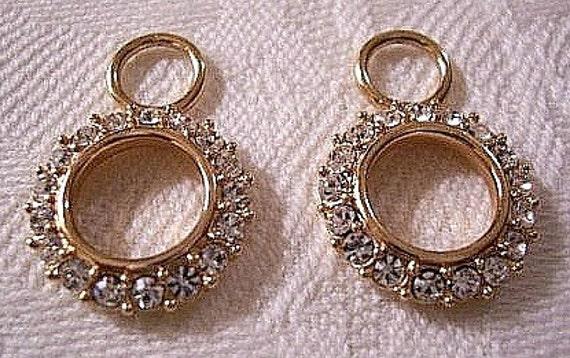 Crystal Hoop Earring Enhancers Gold Tone Vintage Krementz Bale Ring Open Circle