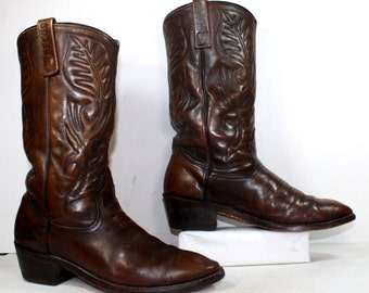 Vintage brown heel cowboy mid calf Leather  red wing fashion western boots 10 M B womens 8.5 D mens