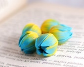Handmade beads, polymer clay beads, Tulip beads, Flower beads, focal beads, statement beads - turquoise blue and yellow - 5 pcs