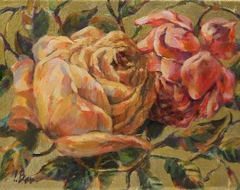 Original acrylic art work Roses-II. Small size.
