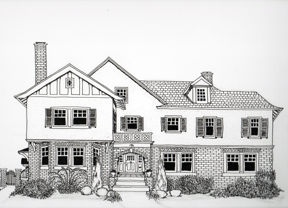 Pen House Drawing Pen Ink House Drawing
