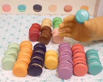 Miniature 30 Assorted Macarons for American Girls 1:3 scale 18 inch dolls <Made to Order>