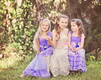 Flower Girl Maxi Dress-Vintage print cotton and long lace layer- Custom