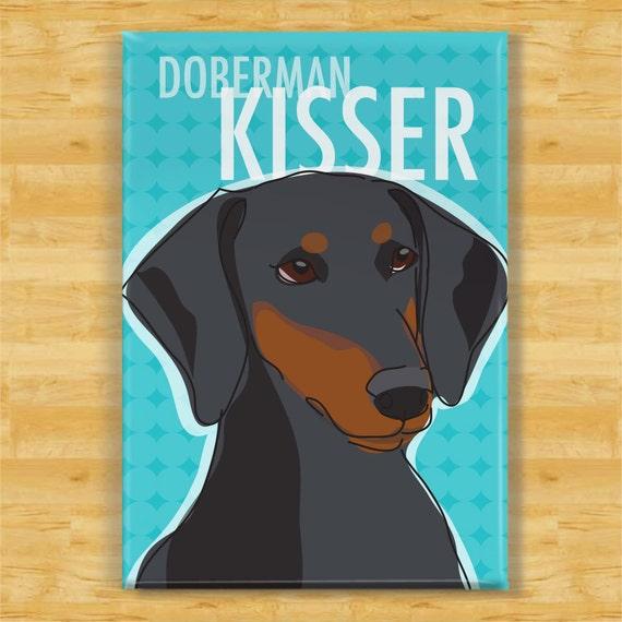 Doberman Pinscher Magnet - Doberman Kisser with Floppy Ears Dog Refrigerator Fridge Magnets