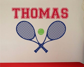 Personalized Name, Tennis Racquets  and Tennis ball. Custom Vinyl wall decals stickers, kids & teens room, removable decals stickers