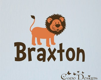 Personalized Name With Lion, Custom Vinyl wall decals stickers, nursery, kids & teens room, removable decals stickers