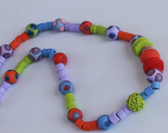 Colorful necklace in green, blue, purple, red and orange, polymer clay millefiori
