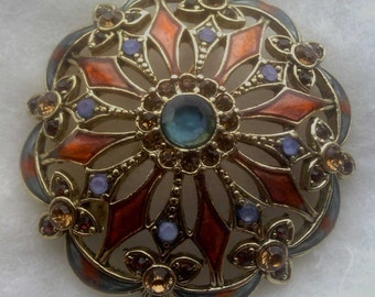 Beautiful Vintage Signed Monet Enameled Brooch With Stones
