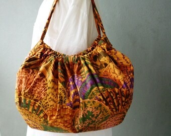 On Sale: Large Tote Beach Bag- Hobo Bag - Shells in Earthtones and Jewel Tones