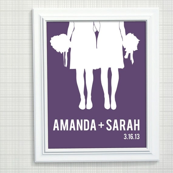 Personalized Wedding Gift - Same Sex Wedding Gift Couples Silhouette ...