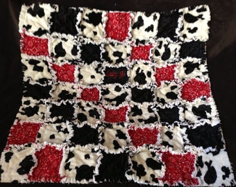 Custom Rag Quilt Black and White Cow and Red Bandana Monogramming for Boy or Girl