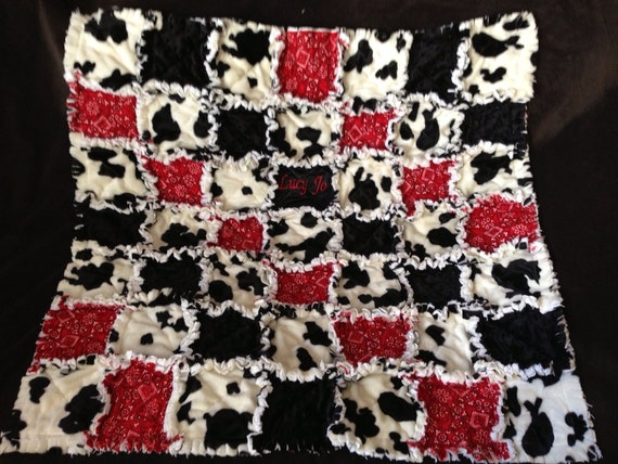 Custom Rag Quilt Black And White Cow And Red Bandana
