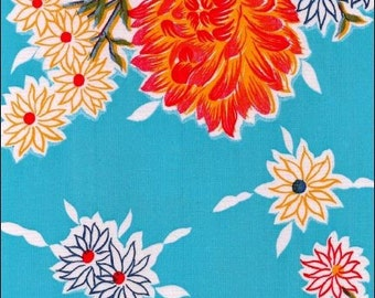 Large Round Oilcloth Tablecloth Mum Light Blue