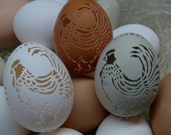 Made To Order: Hand Carved Victorian Lace Chicken Egg -  Rooster