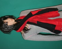Upcycled Scarf Red Black Repurposed Fashion Winter Warm Shawl Hood